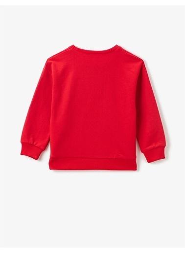 Koton Baskili Bisiklet Yaka Uzun Kollu Sweatshirt Kırmızı